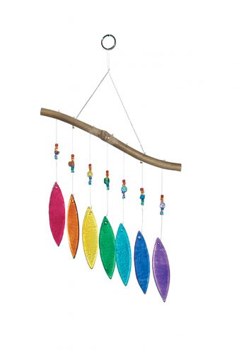 Glas-Windspiel 7 Blätter, regenbogenfarben