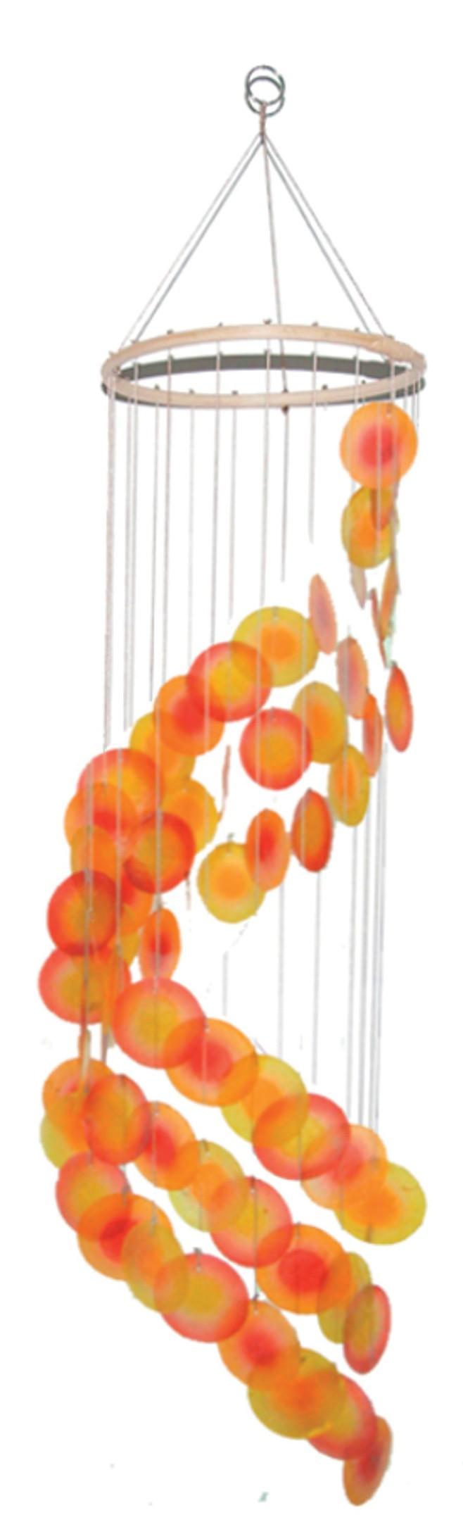 muschel mobile spirale orange rot gelb roemer feng shui. Black Bedroom Furniture Sets. Home Design Ideas