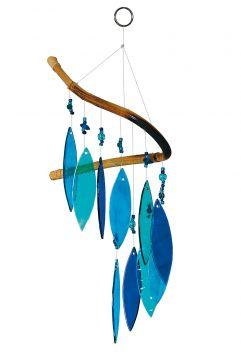 Glas-Windspiel, 10 Blätter, blau-türkis