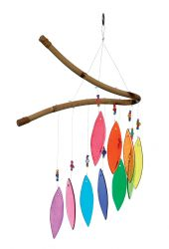 Glas-Windspiel, 10 Blätter, regenbogenfarben