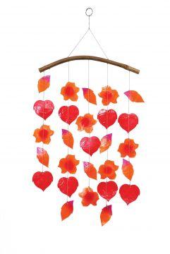 Muschel-Windspiel, Herbstblätter, rot/orange/pink