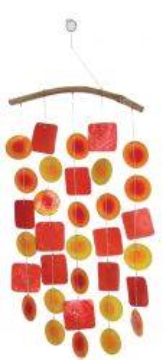 Muschel-Windspiel, orange/rot/gelb
