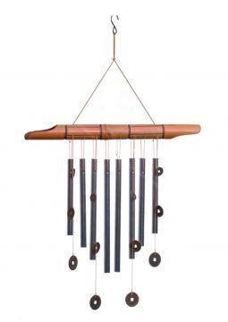 Windklangspiel mit Münzen, 8 Röhren, silber, Bambus, ca. 50 cm