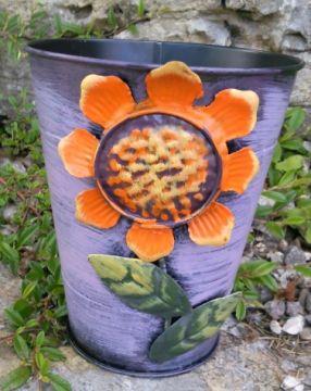 HAPPY METALL Blumenübertopf Sunflower Violett