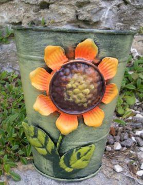 HAPPY METALL Blumenübertopf Sunflower Grün
