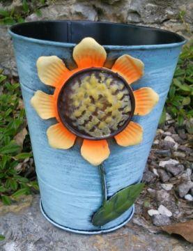 HAPPY METALL Blumenübertopf Sunflower Blau