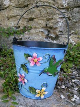 HAPPY METALL Blumenübertopf Kolibri blau