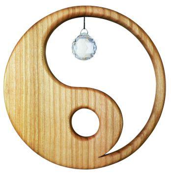 Holz-Kristall-Objekt Yin Yang