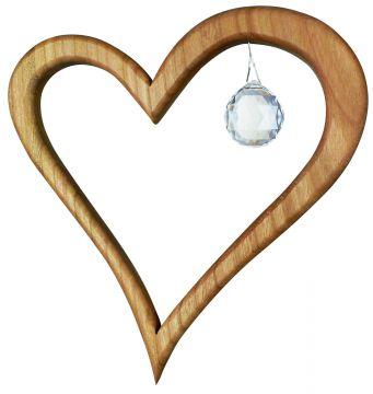 Holz-Kristall-Objekt Herz