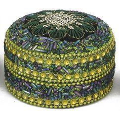 Pailletti Dose, Peacock, rund, ca. 7 cm