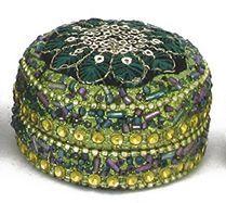 Pailletti Dose, Peacock, rund, ca. 6 cm