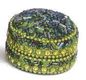 Pailletti Dose, Peacock, rund, ca. 4,5 cm
