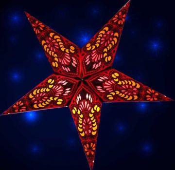Leuchtstern ganesha rot mit Magnetverschluss