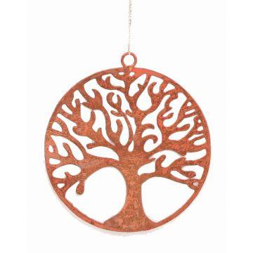 Metallanhaenger Lebensbaum, orange, ca. 10 cm