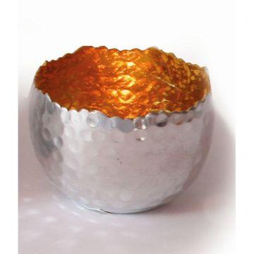 Creative Tealights-Silvery, Innen golden, ca. 8 x 6 cm