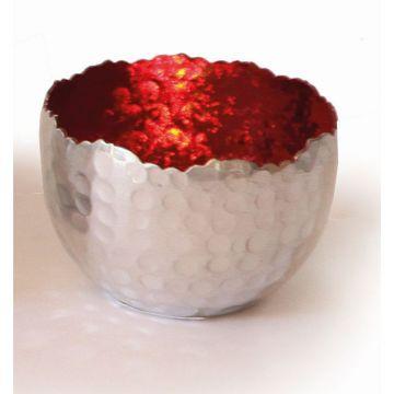 Creative Tealights-Silvery, Innen rot, ca. 8 x 6 cm
