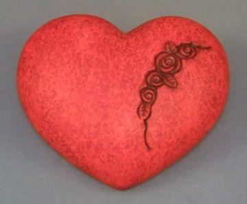 Keramikherzen Rosendesign rot, groß