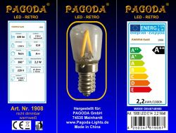 pagoda LED Birne E 14, 2,2 Watt Retro