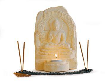 Buddha Relief mit Teelichthalter, natur