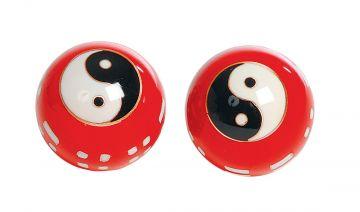 Qigong-Kugelpaar, cloi. Chin. Zeichen rot, ca. 40 mm
